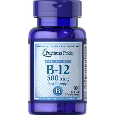 Puritan's Pride Vitamin B-12 500 mcg Sublingual-100 Microlozenges