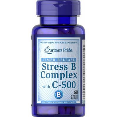 Puritan's Pride Stress Vitamin B-Complex with Vitamin C-500 Timed Release-60 Caplets
