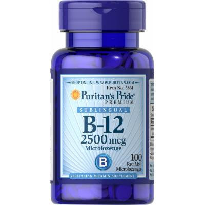 Puritan's Pride Vitamin B-12 2500 mcg Sublingual-100 Microlozenges