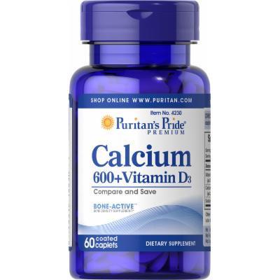Puritan's Pride Calcium Carbonate 600 mg + Vitamin D 250 IU-60 Caplets