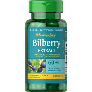 Puritan's Pride Bilberry Fruit Standardized Extract 60 mg-100 Capsules