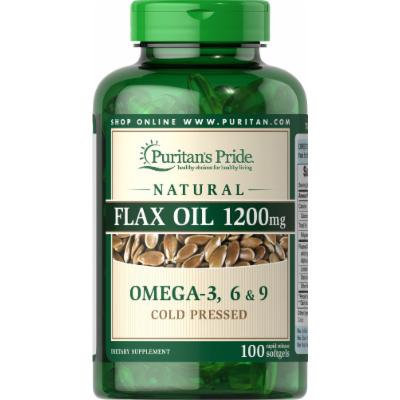 Puritan's Pride Natural Flax Oil 1200 mg-100 Rapid Release Softgels