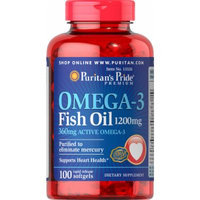 Puritan's Pride Omega-3 Fish Oil 1200 mg (360 mg Active Omega-3)-100 Softgels
