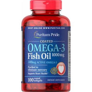 Puritan's Pride Omega-3 Fish Oil Coated 1000 mg (300 mg Active Omega-3)-100 Coated Softgels