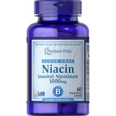 Puritan's Pride Flush Free Niacin Inositol Nicotinate 1000 mg-60 Capsules