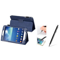 Insten INSTEN Navy Blue Leather Case Stand + Black 2in1 Capacitive Touch Stylus with Ballpoint Pen For Samsung Galaxy Tab 3 8.0