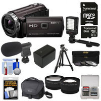 Sony Handycam HDR-PJ540 32GB 1080p HD Video Camera Camcorder with Projector with 64GB Card + Battery + Case + LED Light + Microphone + Tripod + Tele/Wide Lens Kit