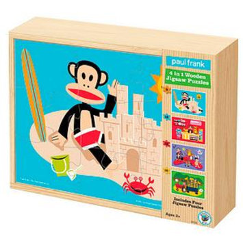 BePuzzled Paul Frank 4 in 1 Wooden Jigsaw Puzzles Ages 3+