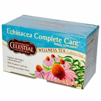 Celestial Seasonings Echinacea Complete Care Wellness Tea Caffeine Free 20 Tea Bags Case of 6