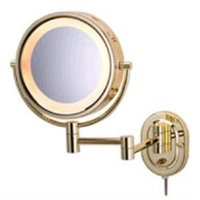 Jerdon HL65G 5X Wall Mount Magnifying Mirror, Polished Brass