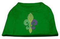 Ahi Mardi Gras Fleur De Lis Rhinestone Dog Shirt Emerald Green Med (12)