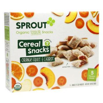 Sprout Organic Toddler, Fruit & Veggie Cereal Snack Orange Fruit & Carrot, 5 ea
