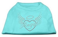 Mirage Pet Products 52-84 XLAQ Angel Heart Rhinestone Dog Shirt Aqua XL - 16
