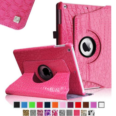 Fintie Rotating Stand Case Cover for iPad Air / iPad 5 (5th Generation), Crocodile Hot Pink