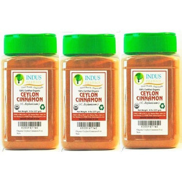 Indus Organics Indus Organic Premium True Ceylon Cinnamon Powder (3 Jars of 8 Oz), Freshly Packed