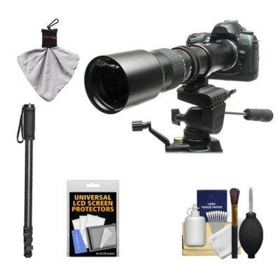 Rokinon 500mm f/8 Telephoto Lens with 2x Teleconverter (=1000mm) + Monopod Kit for Panasonic / Olympus E-5, E-30, Evolt E-420, E-520, E-620 Digital SLR Cameras