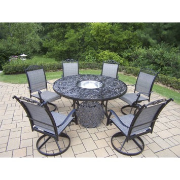Oakland Living Corp. Cascade 7-Piece Aluminum/Sling Swivel Round Patio Dining Furniture Set