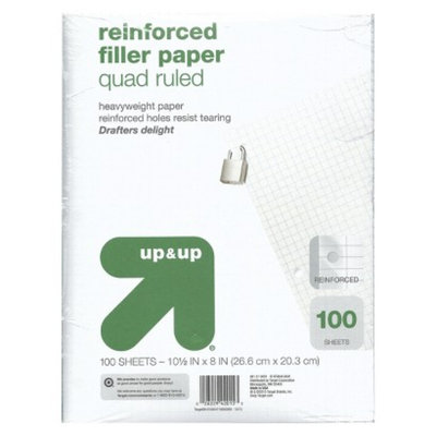 up & up - 100ct Quad Ruled Reinforced Filler Paper - 8.5