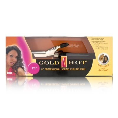 Belson Gold 'N Hot 1 1/2 Inch Professional Spring Curling Iron