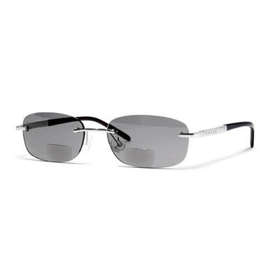 Cross Clancy Collection Rimless Sun Reading Glasses, Gray and Matte Silver, 1.25