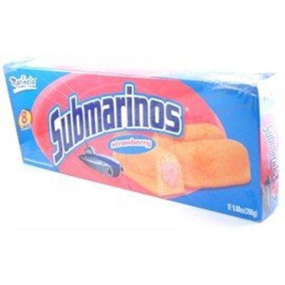 Submarinos Marinela - Strawberry Cream Filled Cakes - 6 Pastelitos - 7.41 oz