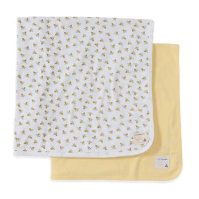 Burt's Bees Baby Burts Bees Baby Newborn 2-Pack Blanket - Yellow/Grey
