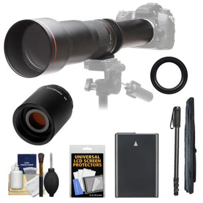 Vivitar 650-1300mm f/8-16 Telephoto Lens (Black) with 2x Teleconverter (=2600mm) + EN-EL14 Battery + Monopod + Accessory Kit for Df, D3100, D3200, D3300, D5100, D5200, D5300 Camera