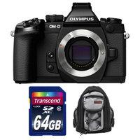 Olympus OM-D E-M1 Micro 4/3 Digital Camera Body (Black) with 64GB Card + Mini Sling Bag Kit