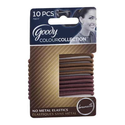 Goody ColourCollection No Metal Elastics Brunette - 10 CT