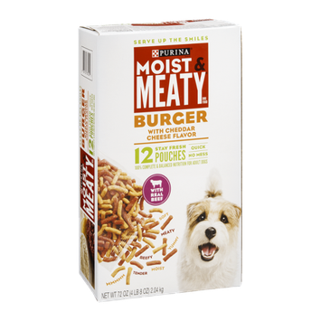 Purina Moist & Meaty Dog Food Burger With Cheddar Cheese Flavor - 12 CT