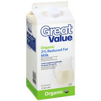 Great Value Organic 2% Reduced Fat Milk, .5gal