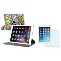 Insten INSTEN For iPad Air 2 2nd Gen Giraffe Ultra Slim Multi Angle Stand Leather Case Cover + 3x Anti-Glare LCD Protector