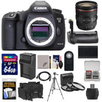 Canon EOS 5D Mark III Digital SLR Camera Body with 24-70mm f/4L IS USM Lens & 64GB Card + Grip + Battery & Charger + Case + Tripod Kit