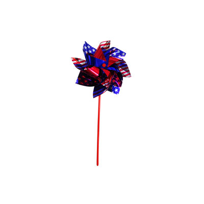 Independence Flag Red/Blue/Silver Plastic Wind Spinner with Wind Twister 10840
