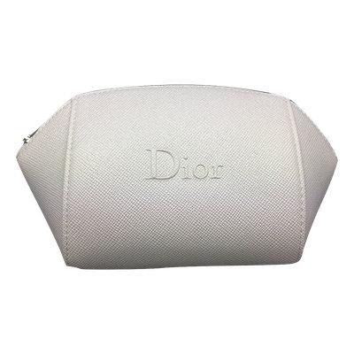 Dior Beaute Textured Beauty Cosmetics Bag Pouch Silver Zipper