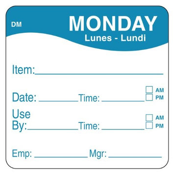 DAYMARK 1100531 Day Label, Monday,2-5/9 In. W,PK250