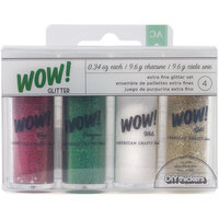 American Crafts Wow! Glitter, Christmas 1, 4/pkg