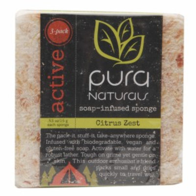 Pura Naturals Active Slice - Soap Infused Sponge, Citrus Zest, 3 ea