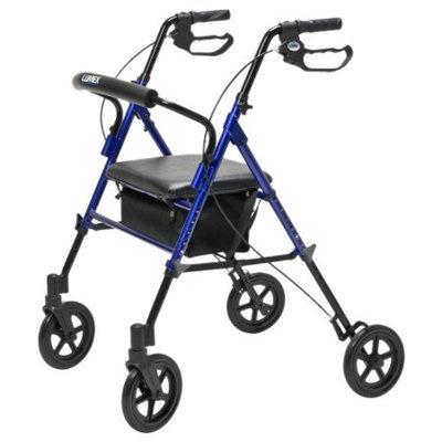 Lumex Set & Go Wide Height Adjustable Rollator, Blue, 1 ea
