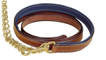 TORY LEATHER 1 Padded Lead - Brass Chain Black/White