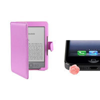 Insten INSTEN Purple PU Folio Leather Skin Case Wallet Pouch+Pink Rose Dust Cap For Kindle 4