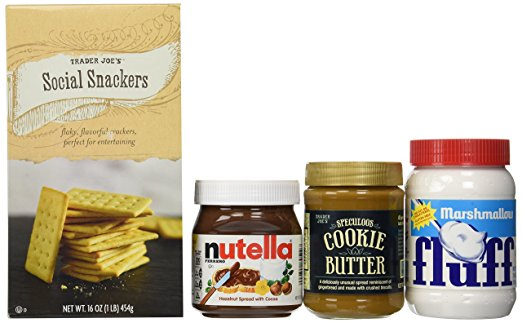 Create a Delicious S'mores Kit: Trader Joe's Speculoos Cookie Butter, Trader Joe's Social Snackers, Nutella Hazelnut Spread, Marshmallow Fluff