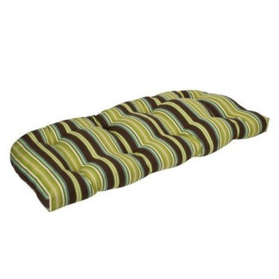 Pillow Perfect Outdoor Bench/Loveseat/Swing Cushion - Brown/Green Stripe