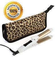2-in-1 Mini Hair Straightener Flat Iron/Curling Iron Styler w/Nano Titanium Technology