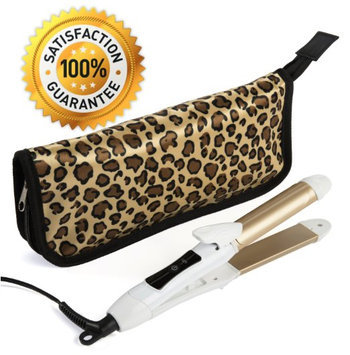 2-in-1 Mini Hair Straightener Flat Iron/Curling Iron Styler w/Nano Titanium Technology