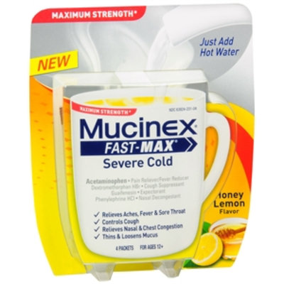 Mucinex Fast-Max Severe Cold Packets, Honey Lemon, 4 ea