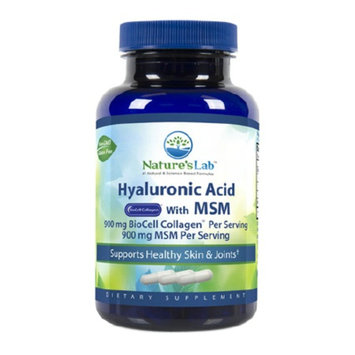 Nature's Lab Hyaluronic Acid with BioCell Collagen & MSM, Vegetarian Capsules, 60 ea