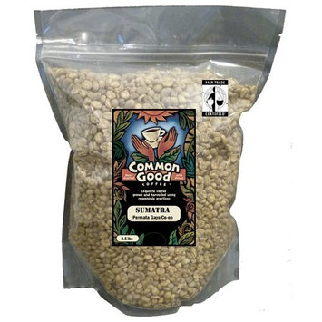 Common Good Foods Sumatra Coffee Green (Unroasted) Organic Fair Trade Permata Gayo Co-op Whole Bean 3.5 Lb Bag. Exquisite!
