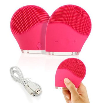 Waterproof Electric Soft Silicone Facial Brush Cleanser face Skin washing machine Cleanser Massager Exfoliator - Hot Pink