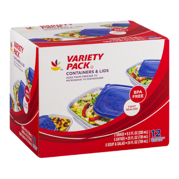 Ahold Variety Pack Containers & Lids - 12 CT